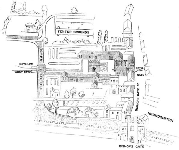 Map of the old Bethlehem Hospital, later 'Bedlam'.
