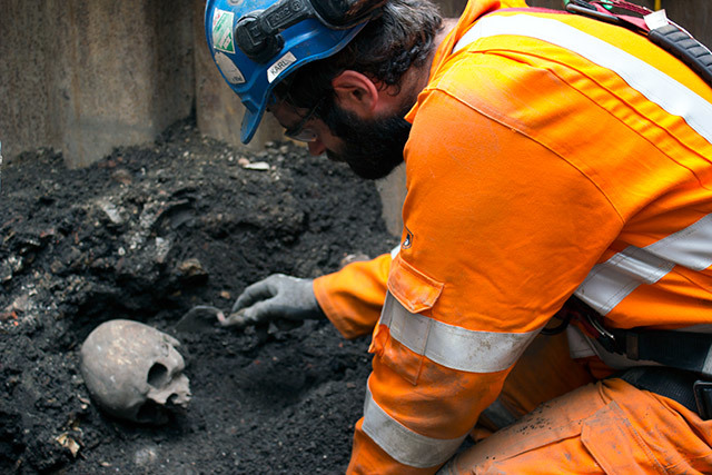 Skeletons on the site of Liverpool Street Crossrail station.