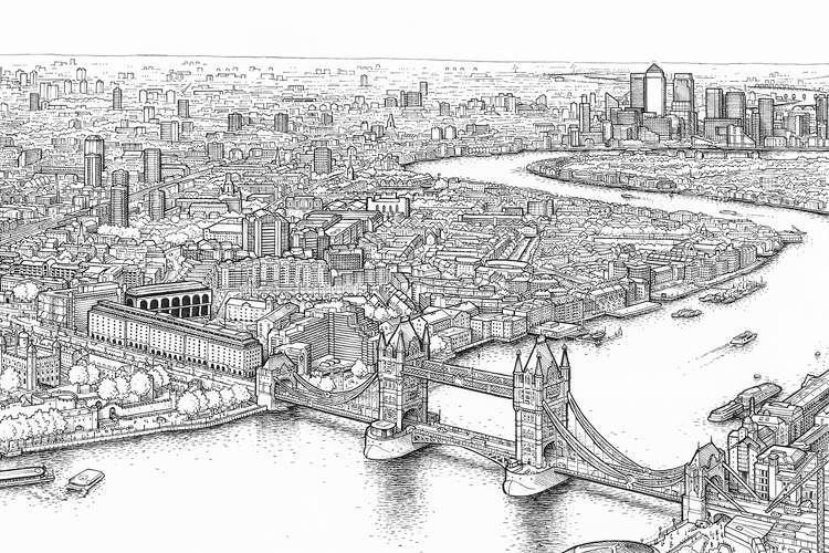 Line Drawing London : Hand drawn panorama of london from the shard londonist