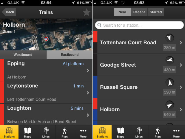 Two iPhone screenshots from Tube Tracker, another app from the same developer, which lists your nearest station and carries real-time data on trains.