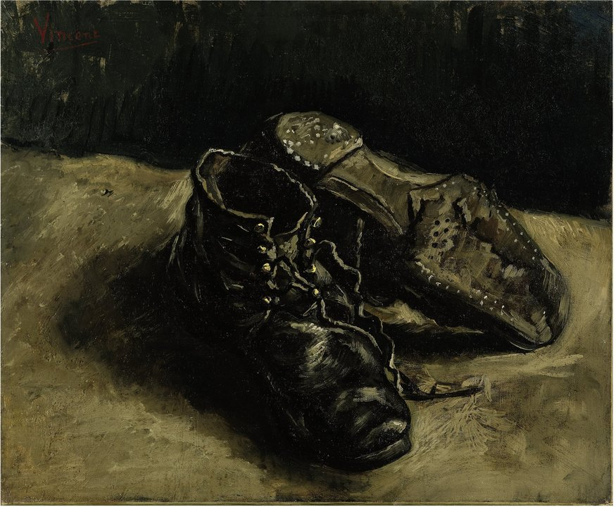 Vincent van Gogh. A Pair of Shoes, One Shoe Upside Down, Autumn 1886. Oil on canvas, 37.5 x 45.5 cm. Private collection