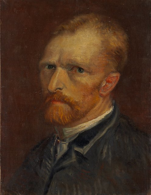 Vincent van Gogh. Self-portrait, Dec 1886 - Jan 1887. Oil on canvas, 39.5 x 29.5 cm. Collection Gemeentemuseum Den Haag, The Hague, The Netherlands