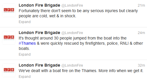 London Fire Brigade tweets about Duck Tour boat fire