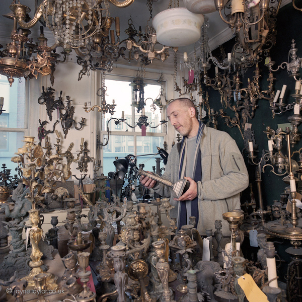 Lawrence Sitch of W.Sitch & Co Ltd (est. 1770) Berwick St. The Sitch family have been making and selling chandeliers for generations, supplying the chandeliers for The Titantic as well as many of the West End's theatres.
