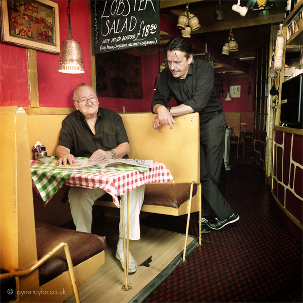 Aldo & Alberto, at Trattoria da Aldo, Greek Street. Aldo lives in Soho and has been running his Italian restaurant in Greek Street for 35 years; he's a familiar sight to passers-by, usually seated at his favourite table outside. Pictured here with son Alberto, who now manages the trattoria.