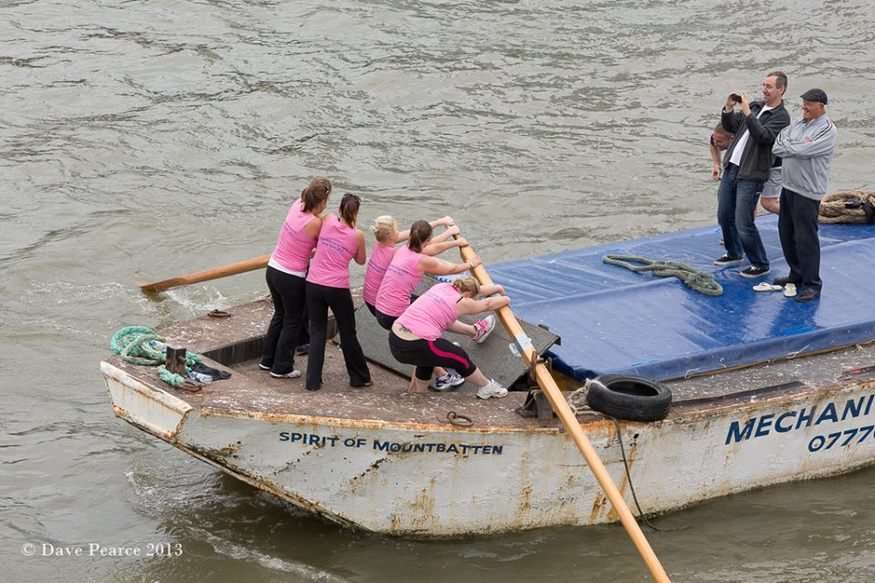 Barge racing (hard work) by Dave Pearce
