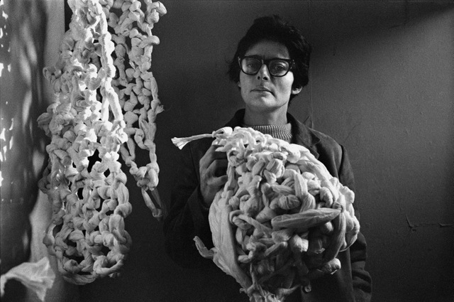 Portrait of the artist in 1966. Mira Schendel, London 1966 Photograph  © Clay Perry, England & Co Gallery