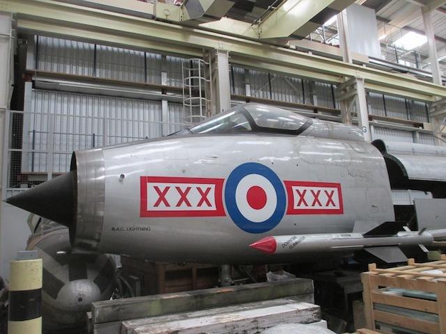 A Lightning cockpit, in the hangar.
