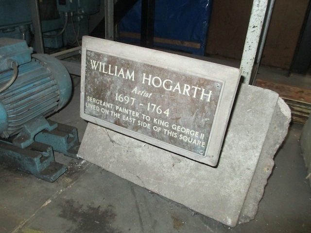 A plaque to Hogarth, formerly in Leicester Square.