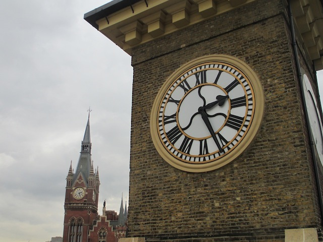 The two towers. Legend has it that, in the days before time was standardised across Britain, the two clocks were set to different times to reflect the timetables of rival operators.
