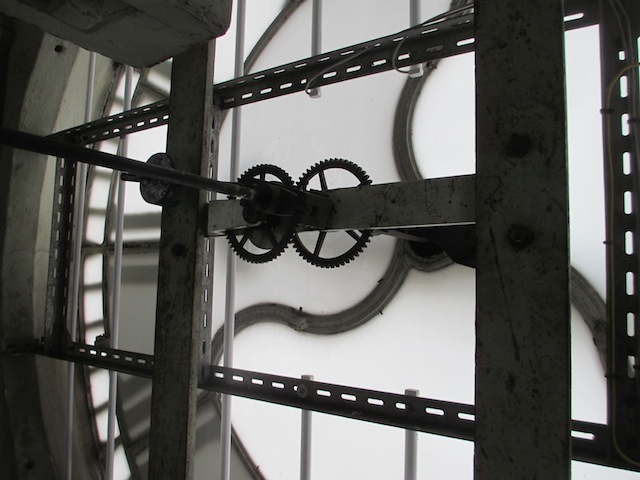 Close up of the clock machinery, such as it is.