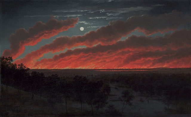 Key. 40  /  Cat. 0    Eugene von Gu??rard  Bush Fire, 1859  Oil on canvas  34.8 x 56.3 cm  Art Gallery of Ballarat  Gift of Lady Currie in memory of her husband, the late Sir Alan Currie, 1948
