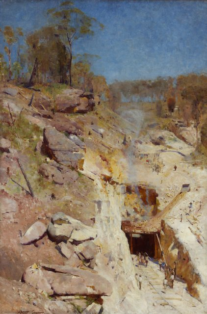 Key. 72  /  Cat. 0    Arthur Streeton  'Fire's On', 1891  Oil on canvas  183.8 x 122.5 cm  Art Gallery of New South Wales, purchased 1893    Exhibition organised by the Royal Academy of Arts, London in partnership with the National Gallery of Australia