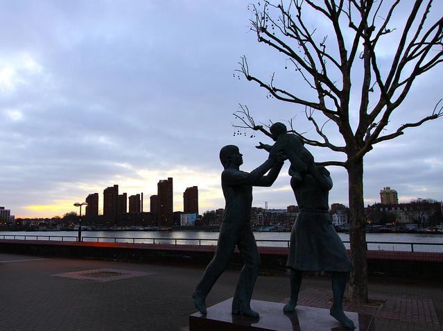 Family Statue Dusk by Jonathan Zurick