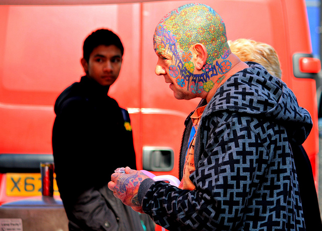 Man with a Colourful Head @ Chapel Market by Becky Frances