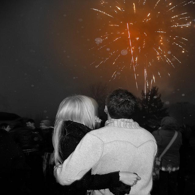 Sparks fireworks and flying