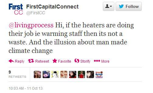 """""""Hi, if the heaters are doing their job ie warming staff then its not a waste. And the illusion about man made climate change"""