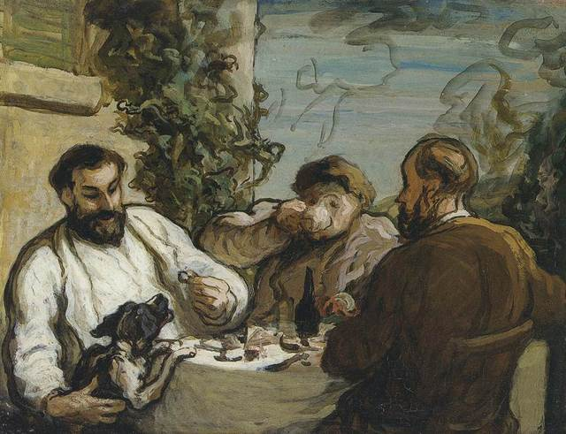 Key. 9      Honore Daumier  Lunch in the Country, c. 1867-1868  Oil on panel  26 x 34 cm  National Museum of Wales, Cardiff  Photo (c) National Museum of Wales