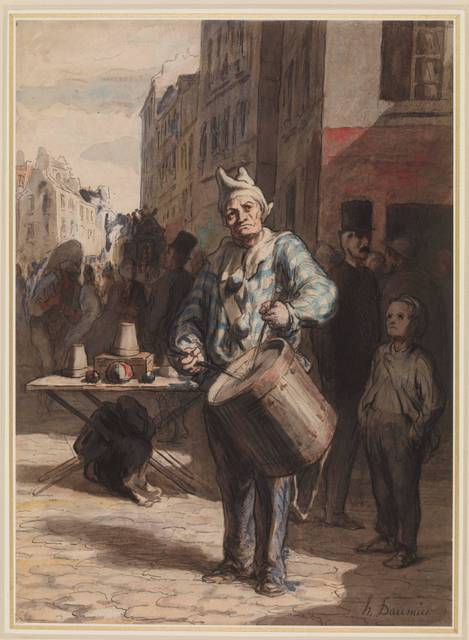 HonorT Daumier, Street Scene with a Mountebank Playing a Drum, a drawing in pen and watercolour over black chalk