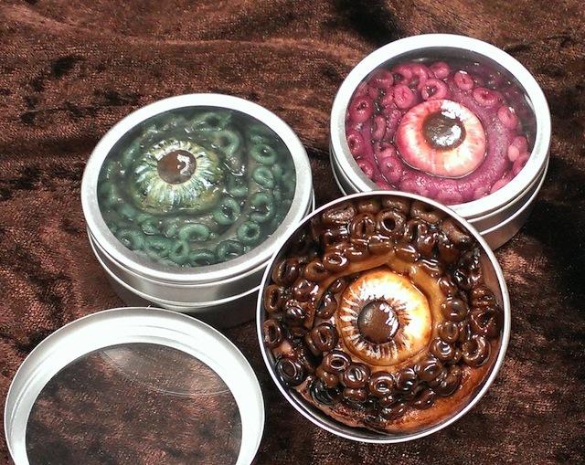 Kraken eyeballs in tins.