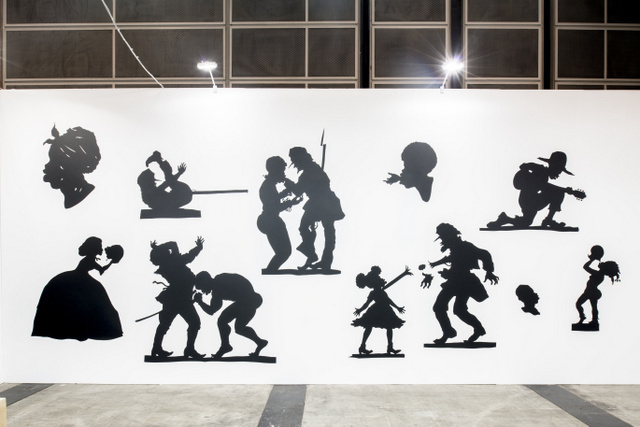 Kara Walker Auntie Walker's Wall Sampler for Civilians, 2013 Cut paper on wall © Kara Walker Images courtesy of Sikkema Jenkins & Co., New York