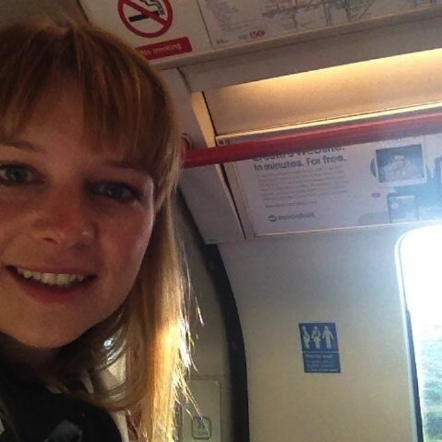 Nicola Friend, a bit embarrassed during rush hour