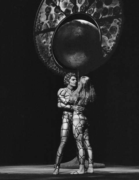 Derek Jacobi and Louise Purnell in Back to Methuselah. In 1969, this is what we thought the future would be like. Photo by Chris Arthur.