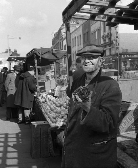 Man at Lower Marsh Market, 1960s. Photo by Chris Arthur.