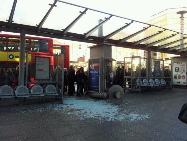 Damage at Wood Green bus stop / photo by Chris Brosnahan