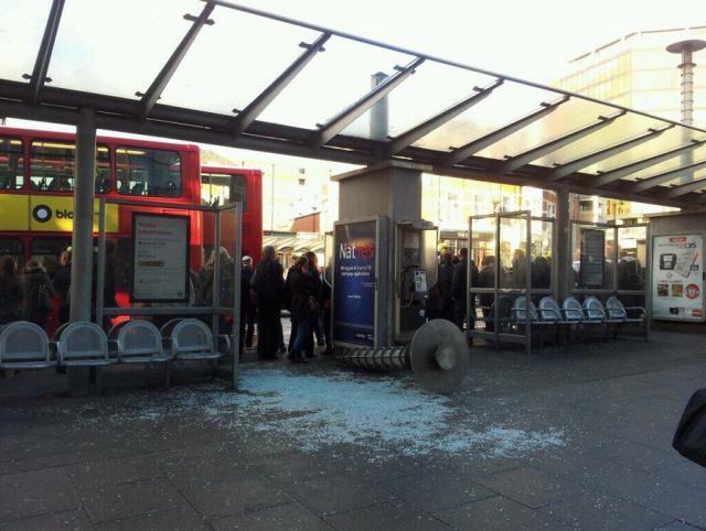 Damage at Wood Green bus stop / photo by Chris Brosnahan