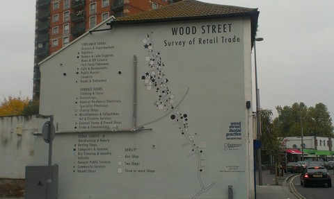 "Verity-Jane Keefe's mural, ""Wood Street Retail Survey (An Artist's View)"", at the corner of Wood St. and Vallentin Rd."