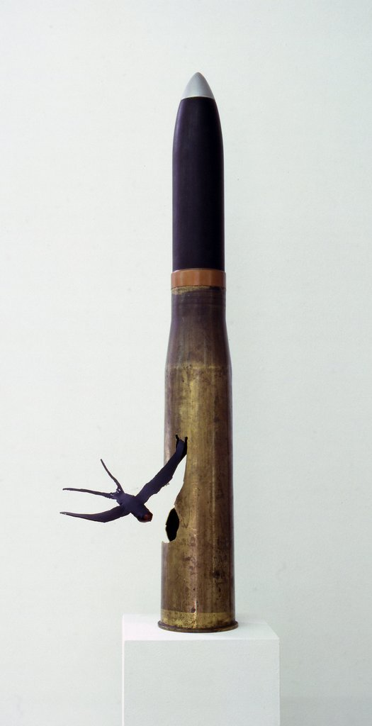 Key 25    Bill Woodrow RA  The Swallow, 1984  Naval shell, enamel and acrylic paint, 117 x 19 x 36 cm   Private collection, Devon