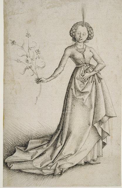 Junge Frau mit Blütenranke.