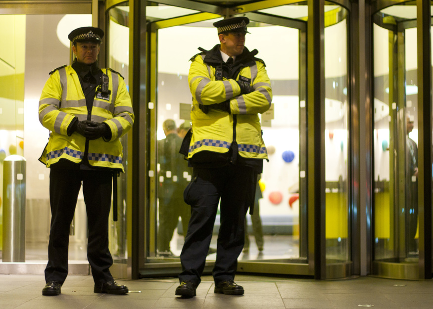 There was a significant police presence and officers guarded the doors to TfL's HQ