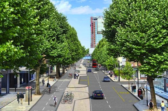 Proposed new segregated cycle track along Blackfriars Road.