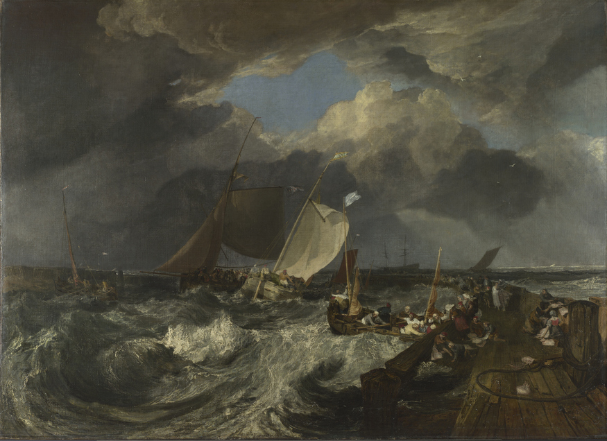 Calais Pier, with French Poissards Preparing for Sea: An English Packet arriving by JMW Turner, oil on canvas, exhibited at the Royal Academy in 1803 © The National Gallery, London