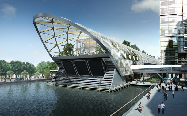 How the finished station complex, designed by Norman Foster, will look.
