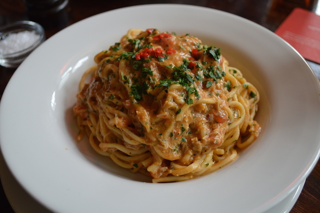 A lovely chilli and crab pasta.
