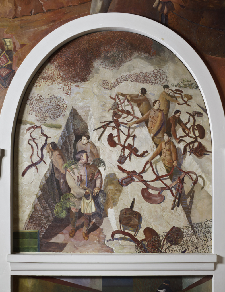 DUG-OUT (or STAND-TO) by Stanley Spencer (1891- 1959) at Sandham Memorial Chapel, Burghclere, Hampshire. The scene is set on the Salonika front in Macedonia. Artist's work in copyright - further permission required