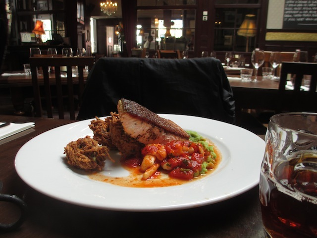 A salmon steak with squid provencal and some natty potato things. All delicious.