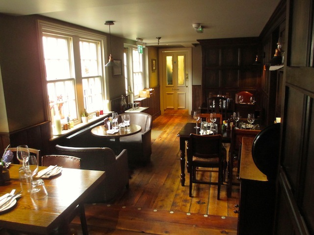 The back dining room, leading out onto the beer garden.
