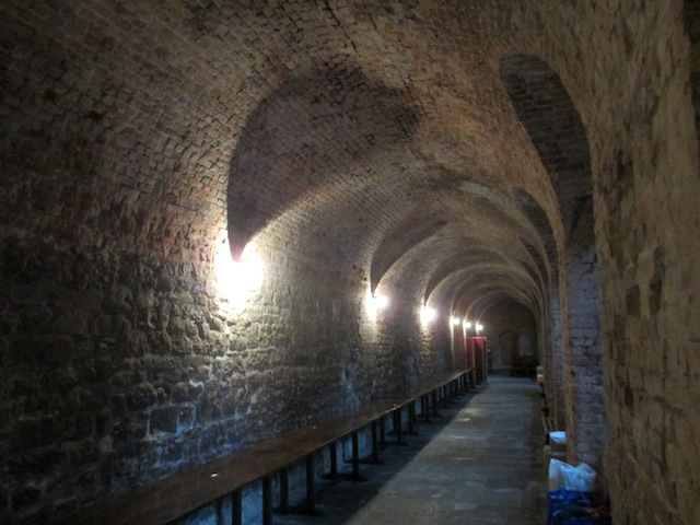 The Norfolk Cloister, said to be the space where a version of football's offside rule was first formulated.