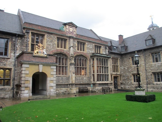 Master's Court, built in 1546, resembles an Oxbridge quad.  The main building is the Great Hall, whose roof was destroyed in the Second World War.