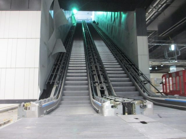 The escalators to platform level are already in place, even though services won't run until 2018.