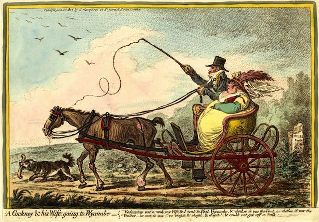 James Gillray. A cockney and his wife going to Wycombe, 1805. (c) British Museum.