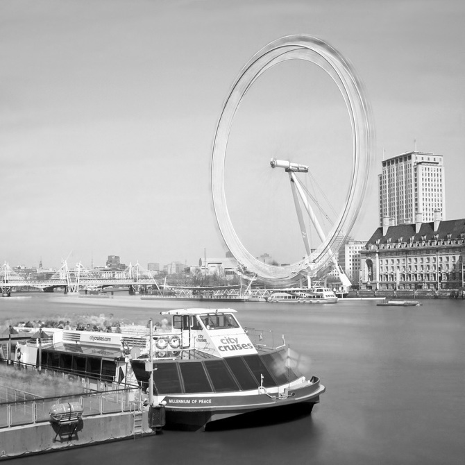 The London Eye appears to turn at breakneck speed.