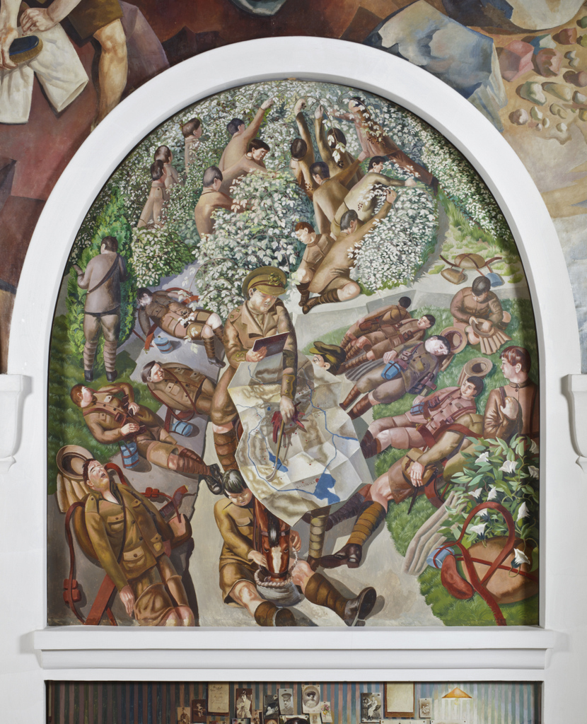 MAP-READING by Stanley Spencer (1891- 1959) on the south wall at Sandham Memorial Chapel, Burghclere, Hampshire. Artist's work in copyright - further permission required