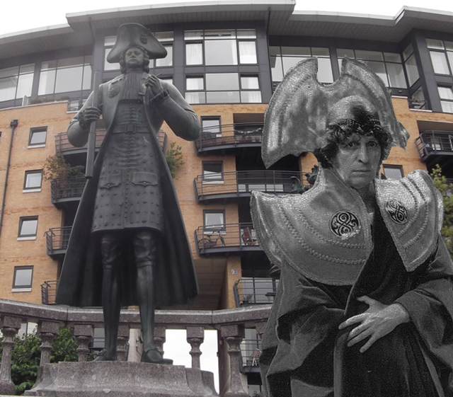Left: Peter the Great statue in Deptford; right, Tom Baker in Timelord gear.