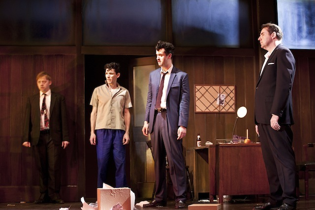 Rupert Grint (Sweets), Colin Morgan (Skinny), Daniel Mays (Potts) and Brendan Coyle (Mickey) in Mojo. Photo credit Simon Annand