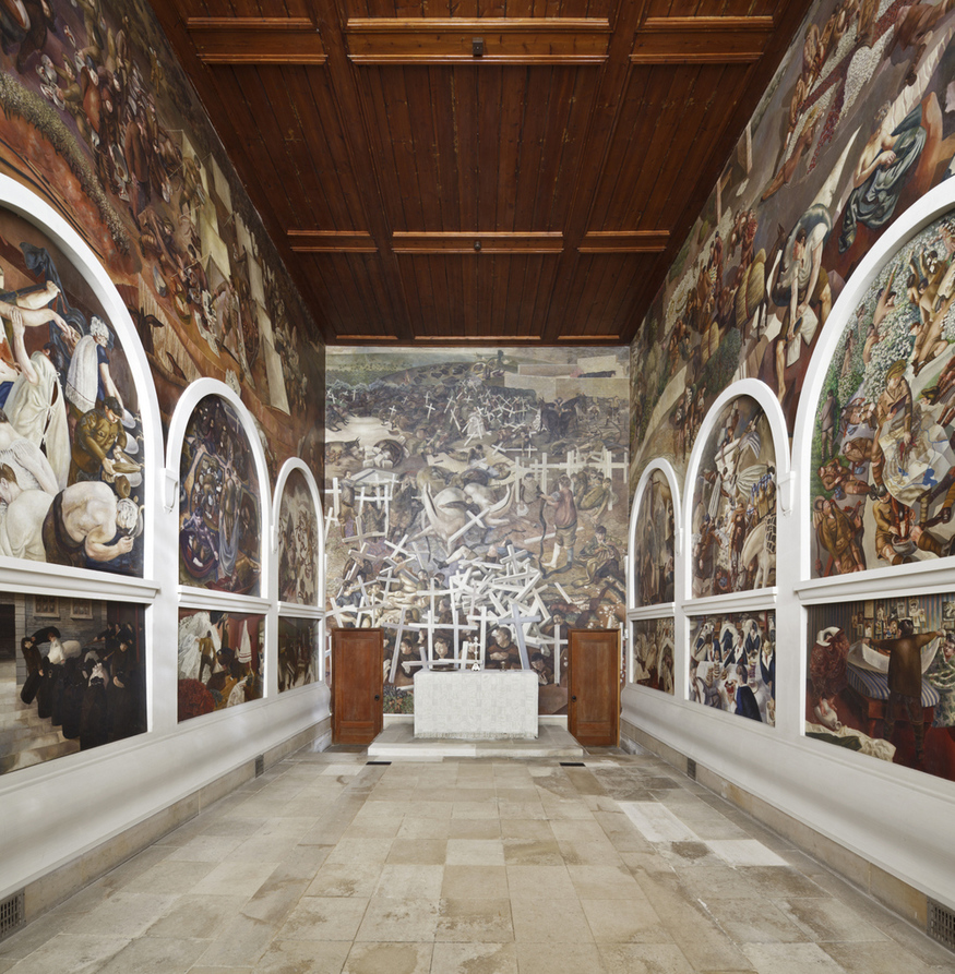 View towards the altar and east wall with paintings by Stanley Spencer (1891- 1959) at Sandham Memorial Chapel, Burghclere, Hampshire. Artist's work in copyright - further permission required